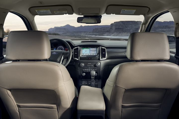 2020 Ford Ranger LARIAT interior with leather trimmed seats and 8 inch centre stack touchscreen
