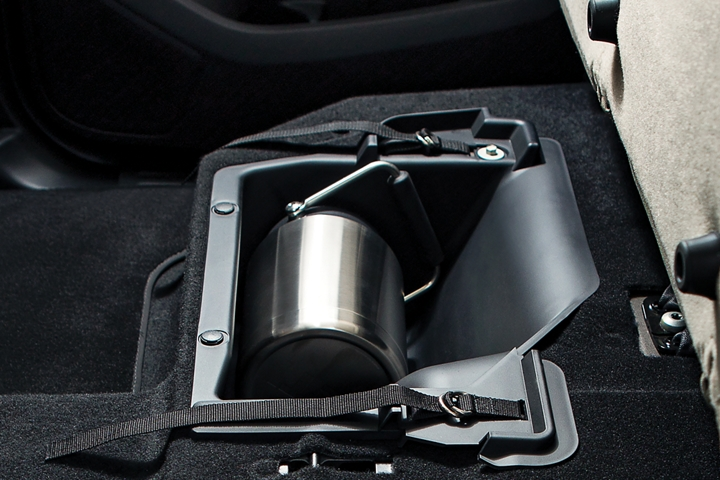 Storage included under both of the rear seats in SuperCab and SuperCrew models