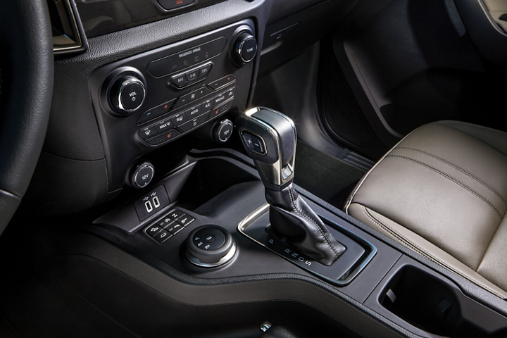 Shifter and centre console of the 2020 Ranger LARIAT interior
