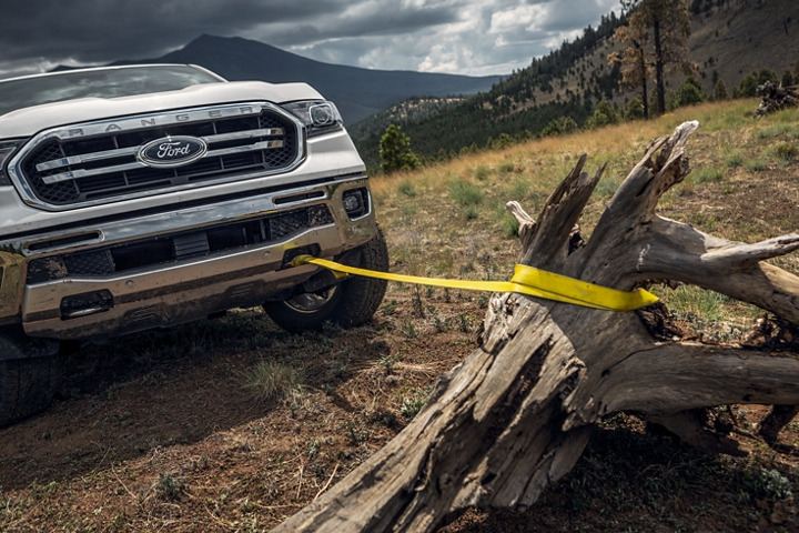 2020 Ford Ranger with front tow hooks included in the F X 4 Off-Road Package