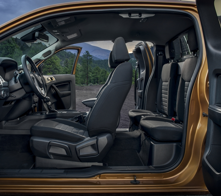 2020 Ford Ranger with both doors open showing Ebony interior