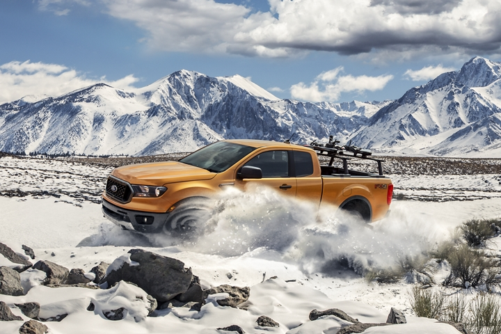 2020 Ford Ranger on snow covered mountain terrain with optional bed mounted rack accessory