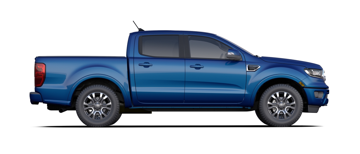 2020 Ford Ranger SuperCrew model shown in Lightning Blue