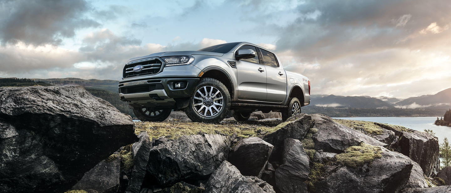 2020 Ford Ranger Lariat Super Crew on top of a rocky mountain