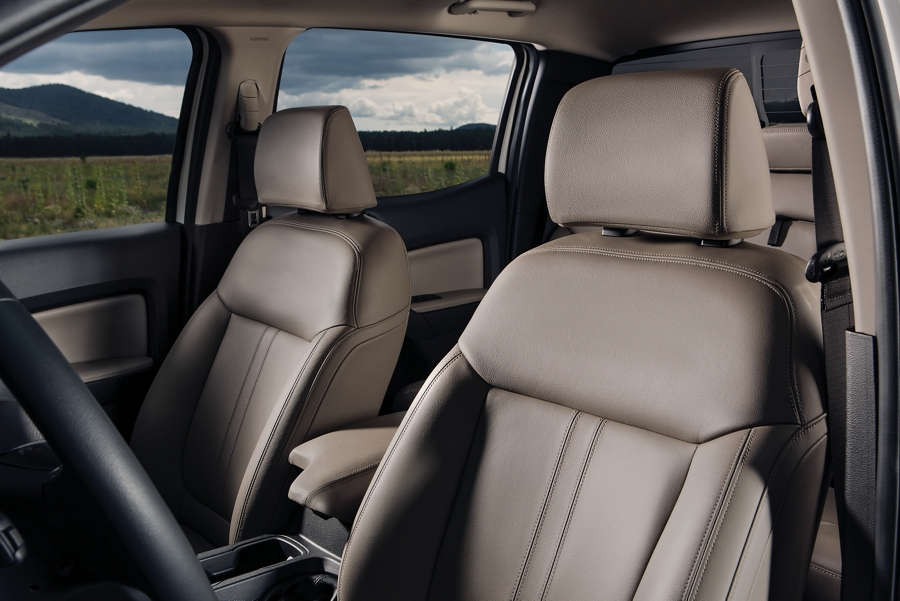 Interior view of 2020 Ford Ranger Lariat with standard leather trimmed seats