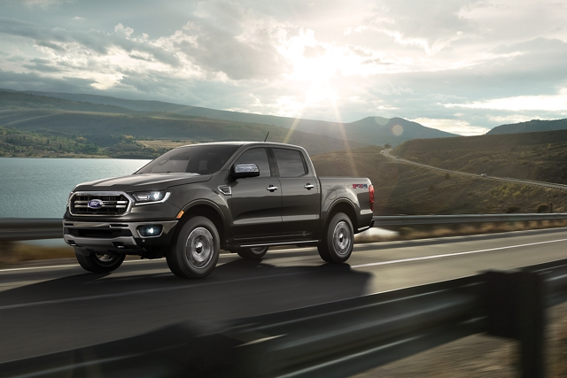 2020 Ford Ranger in Magnetic on curved two lane highway