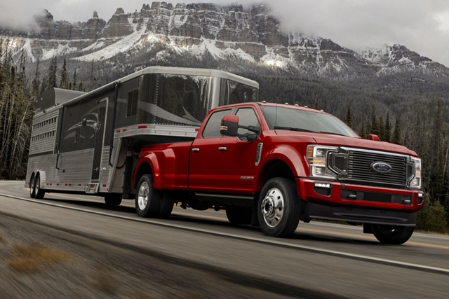 2020 Ford Super Duty pulling a large trailer