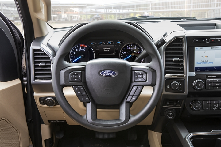 2020 Ford Super Duty steering wheel and dashboard shown