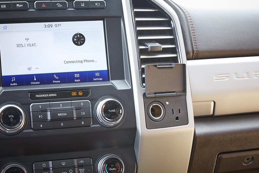 2020 Ford Super Duty dashboard showing the 110 volt 400 watt AC outlet