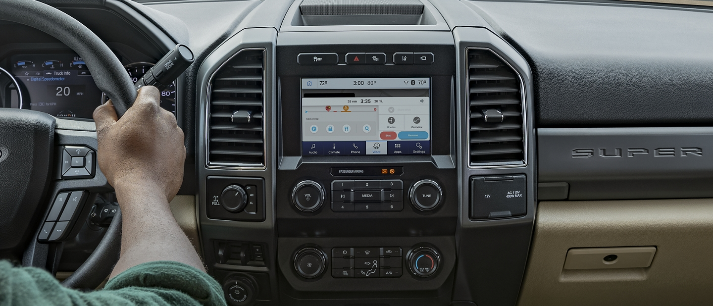 2020 Ford Super Duty interior view of the sync 3 screen showing waze