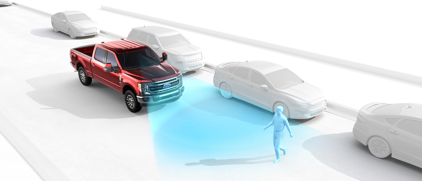 2020 Ford Super Duty illustration depicting the use of the pre collision assist with emergency braking