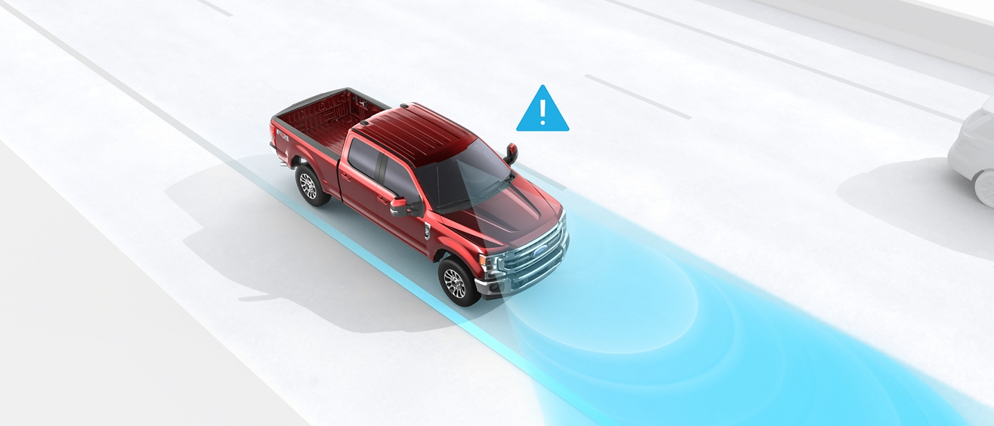 Illustration of lane keeping alert monitoring the lines in the road