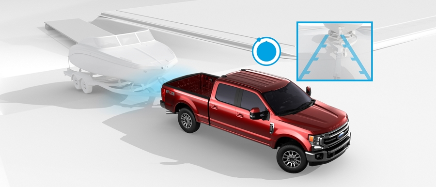 Illustration du Ford Super Duty 2020 illustrant l'utilisation du pro trailer backup assist