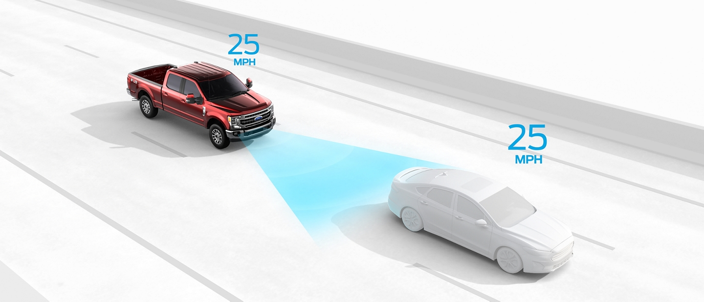 Illustration of Adaptive Cruise Control monitoring speed with vehicle ahead