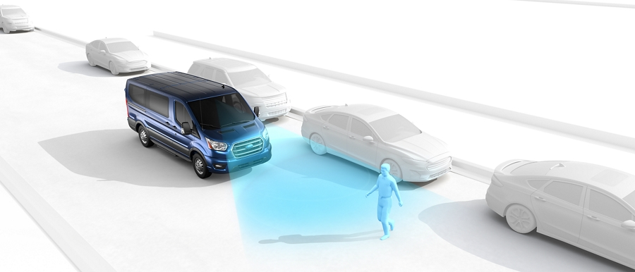 Graphic showing how Pre Collision Assist works with man crossing the street in front of 2020 Ford Transit Chassis Cab Cutaway