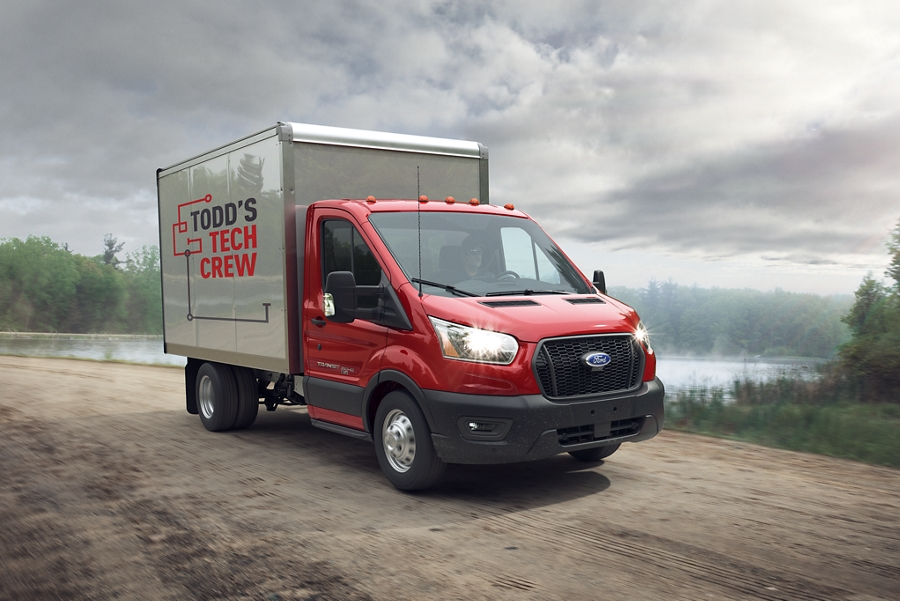 2020 Ford Transit with aftermarket utility body towing utility box