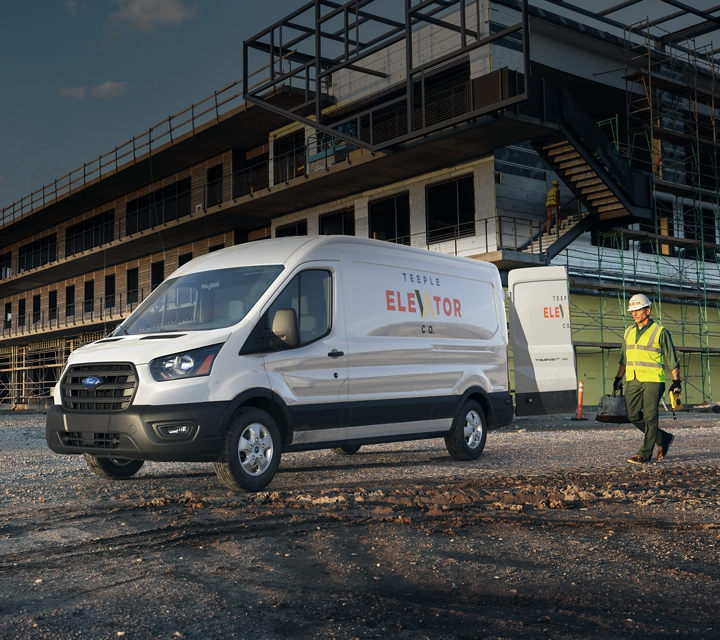 Transit cargo van at a construction site