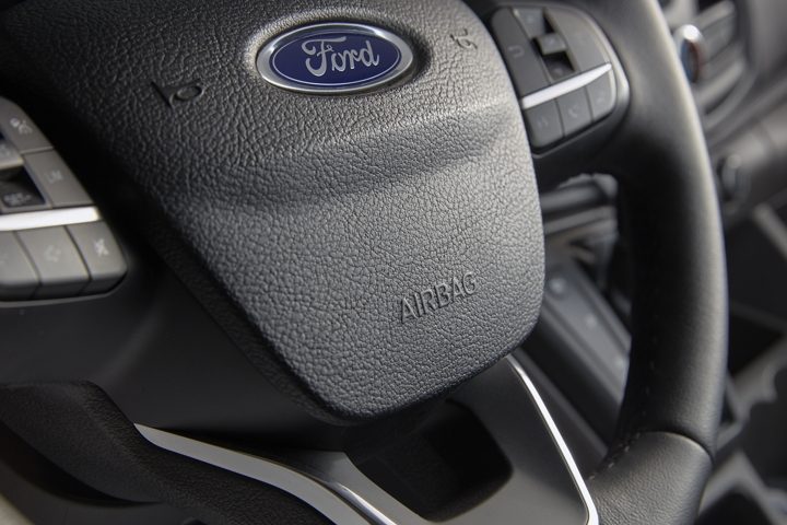 A close up of the 2020 Ford Transit steering wheel