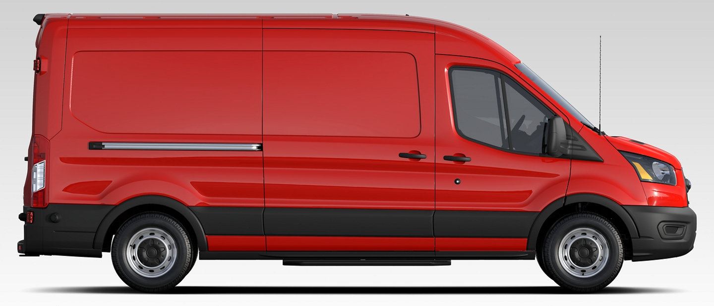 2020 Ford Transit shown in Race Red