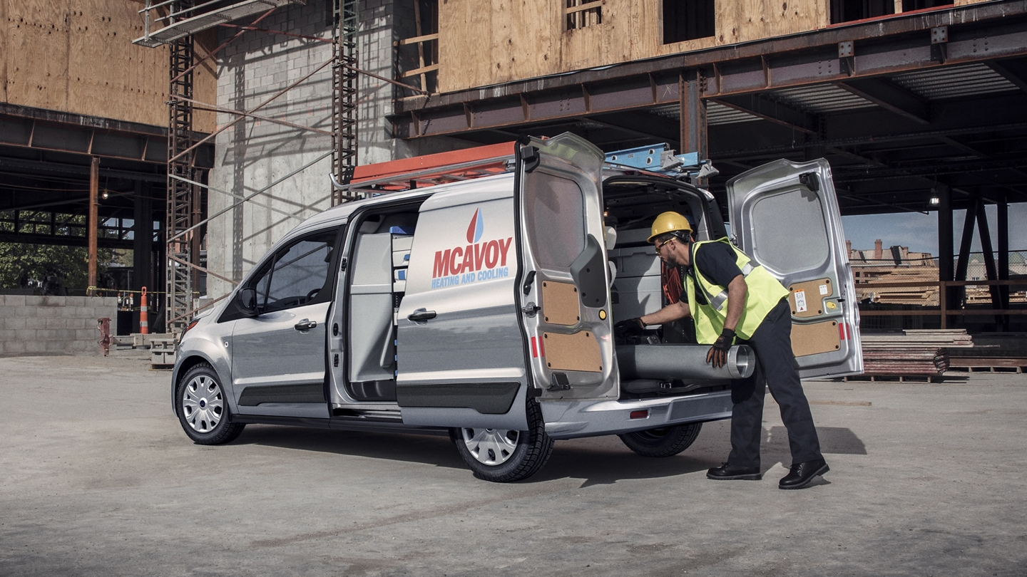 2020 Ford Transit Connect Cargo Van shown with available rear swing out doors and sliding side door