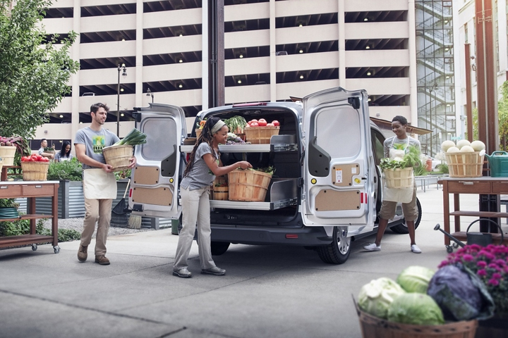 2020 Ford Transit Connect Cargo Van in Silver at an urban farmers market