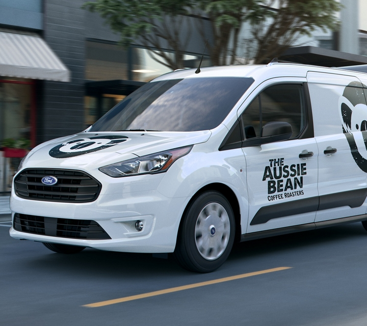 2020 Ford Transit Connect Cargo Van in Frozen white with business graphics