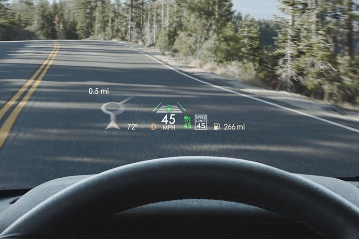 Vital information in the head up display is shown being projected on the windshield in the eye line of the driver