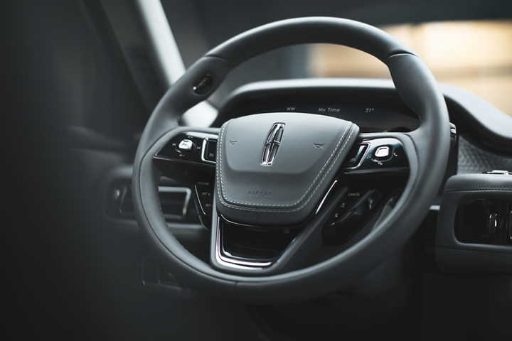 The vision steering wheel is shown with a number of intuitively placed controls