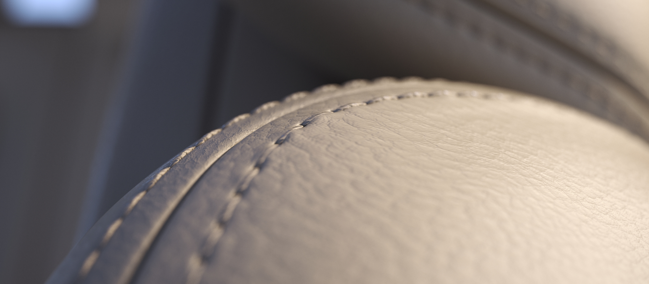 A close up view of seat stitching highlights close attention to detail within the Continental