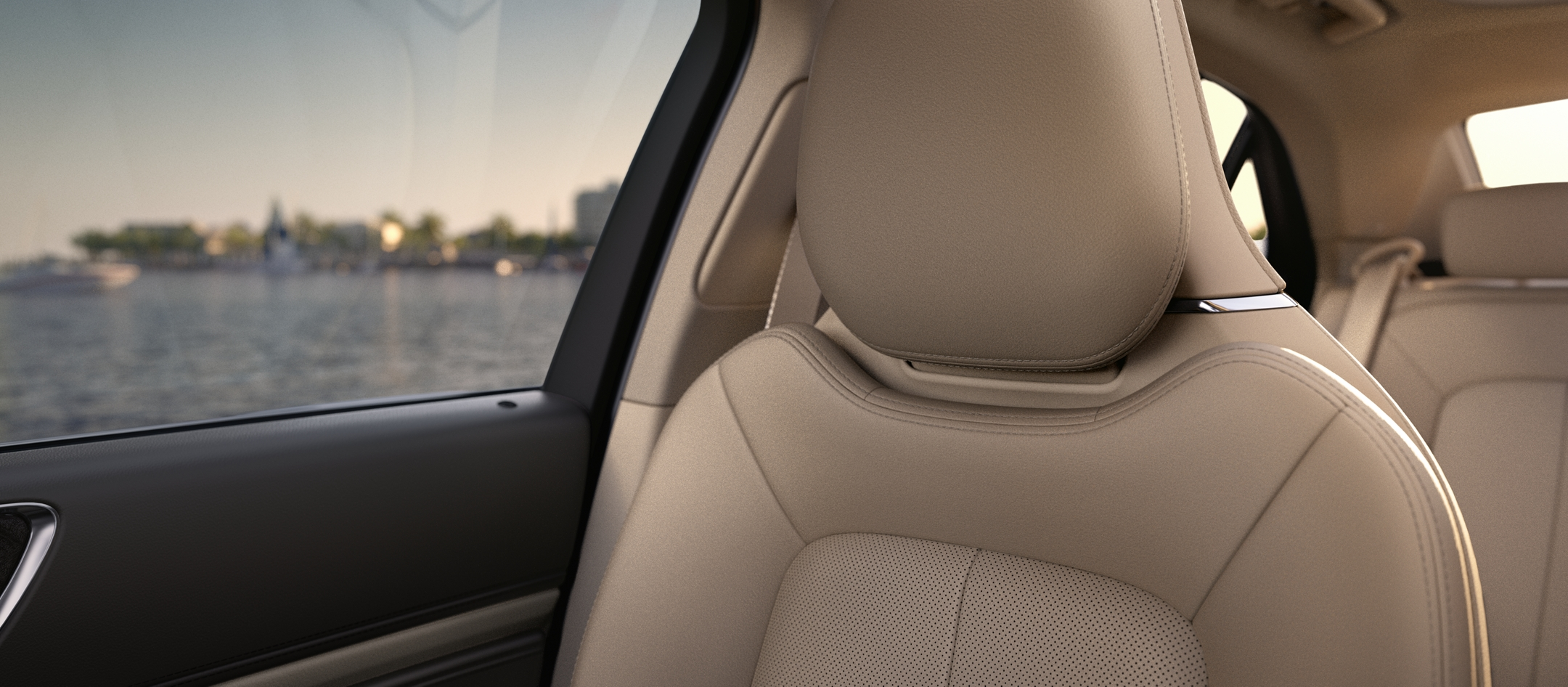 The front passenger seat demonstrates the inviting nature of available leather