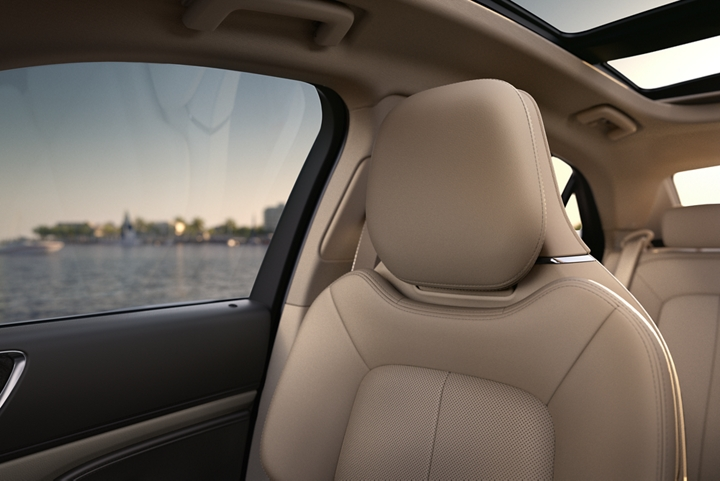 The front passenger seat demonstrates the inviting nature of rich leather