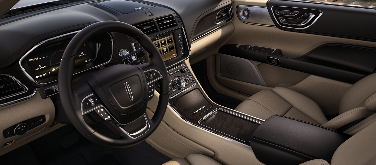 The front seats seen in the Cappuccino interior colour display true craftsmanship and a connected flow