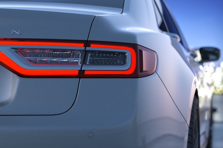 The L E D taillamps of a 2020 Lincoln Continental are shown in this image