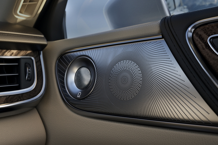 Silver mesh speaker covers shown here and matching tweeter colour make the indoor speaker assembly rather appealing