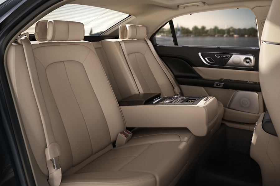 Audio and climate controls are shown in the rear seat amenities package that offers inviting comfort and control