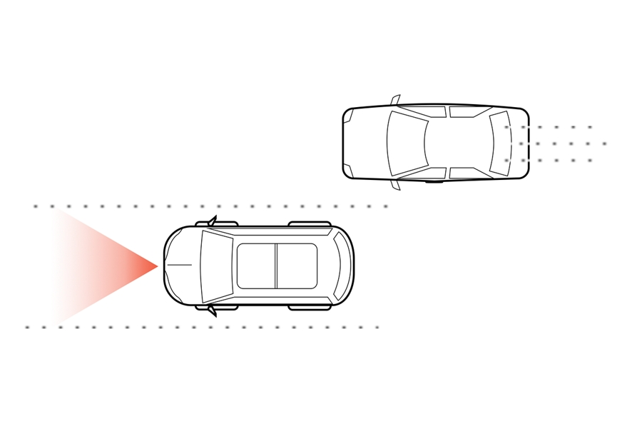 This is an illustration of two vehicles driving on a double laned highway with one simulating the use of the lane keeping system