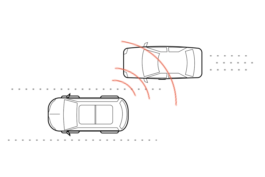 This is an illustration of two cars driving next to each other with the lead car simulating the use of radar to detect the other car in its blind spot