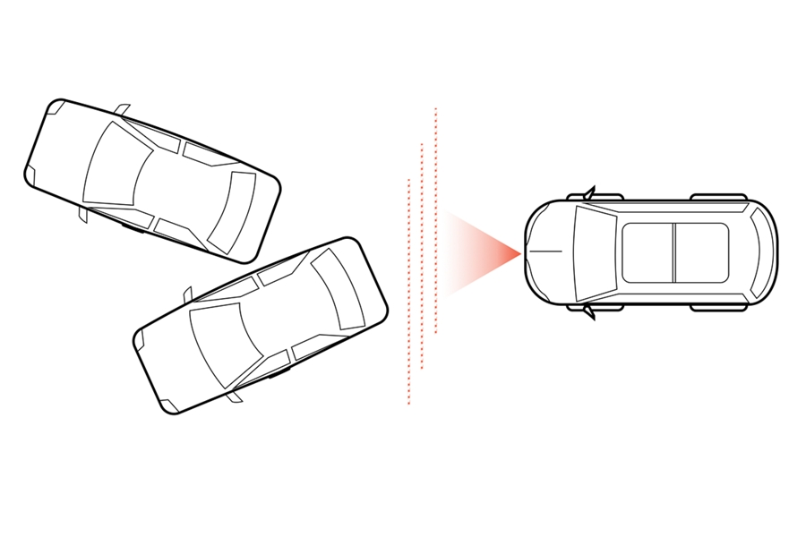 A graphic rendering shows a birds eye view of a vehicle next to other vehicles as dotted lines represent sensors