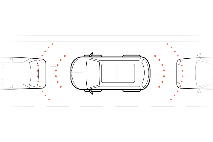 A graphic rendering shows a birds eye view of a vehicle driving on the freeway between two vehicles and dotted lines show the sensing system