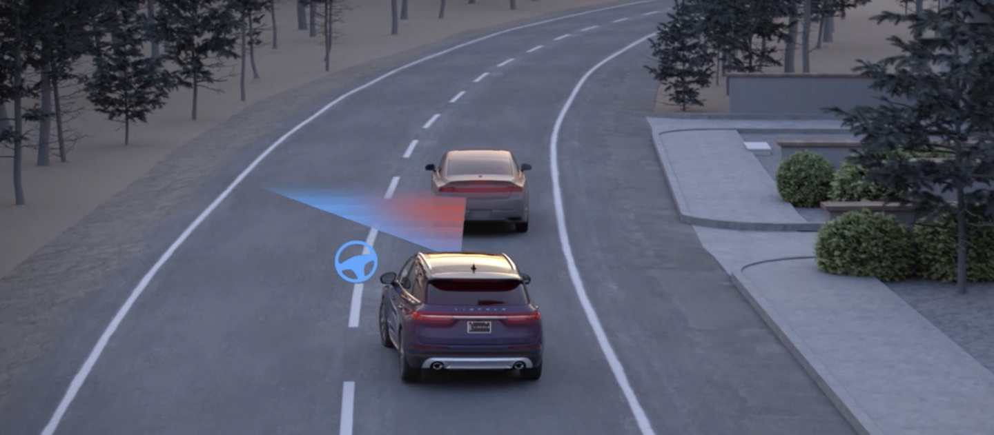A graphic of two vehicles on a road shows a sensor beam from a Lincoln identify a braking car in front of it through evasive steering assist
