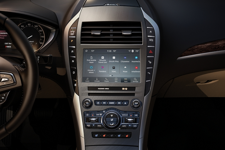 The centre console of a 2020 Lincoln M K Z shown in the middle of the dash puts control within reach