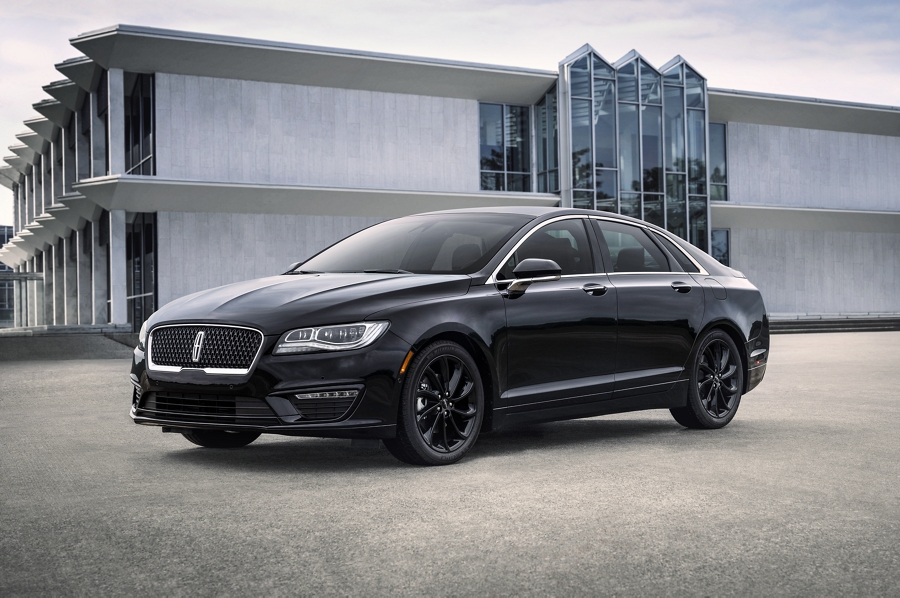 A 2020 Lincoln M K Z is shown with the available Infinite Black monochromatic package with body coloured accents and blacked out wheels