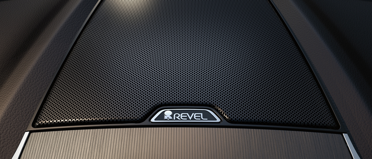 A revel audio system speaker is shown with its stylish cover