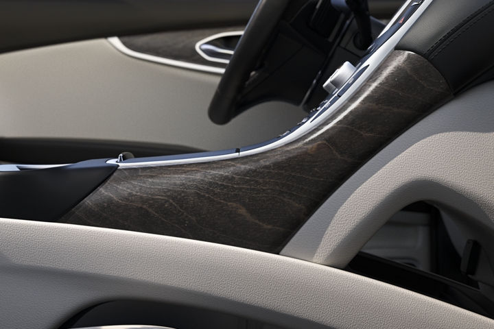 Espresso Ash Swirl open pore wood is seen on the centre console of the 2020 Lincoln Nautilus