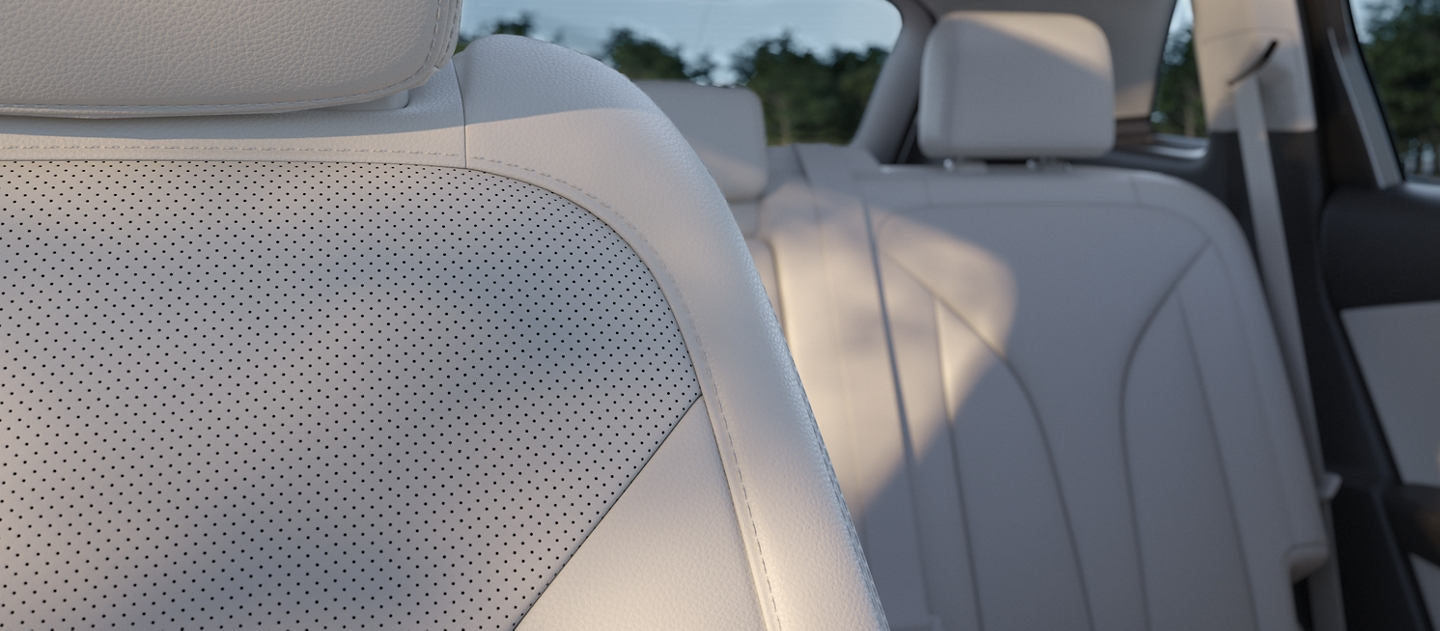 A close up shot showing the rich textures of the leather trimmed front seats in a 2020 Lincoln Nautilus