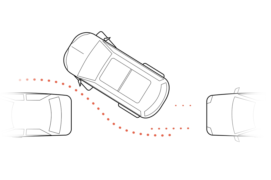 An illustration is shown demonstrating how the active park assist plus feature helps with parallel parking