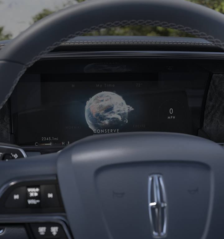 One of the six drive settings that are part of the available Lincoln Drive Modes is shown on the information screen behind the steering wheel