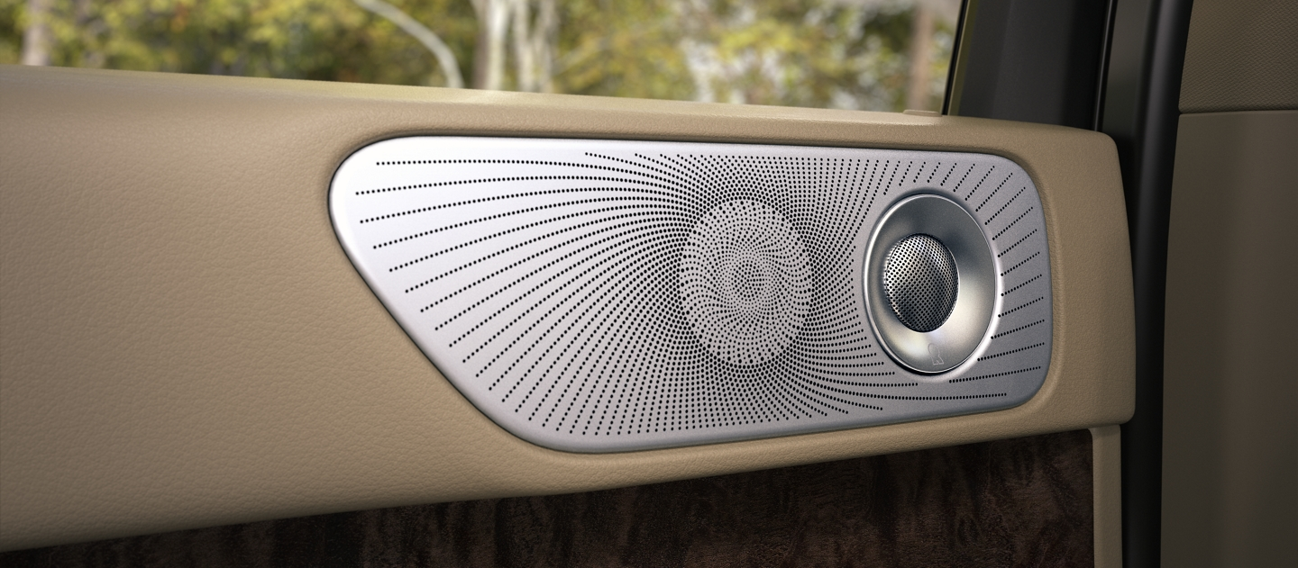 A speaker and tweeter are shown in a second row door of a Lincoln Navigator