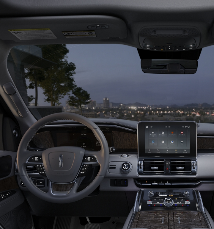 The front cabin of the Lincoln Navigator is shown in the slate interior colour