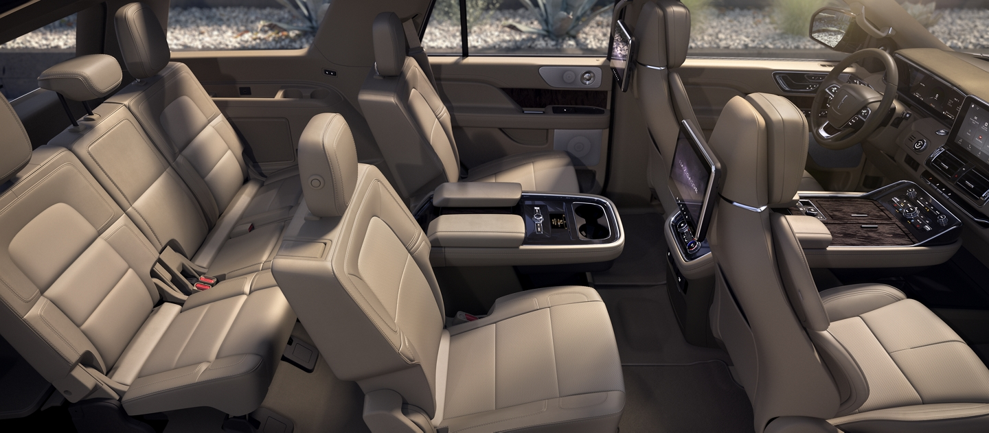 A higher angle view is shown of the three rows of seating in the Lincoln Navigator